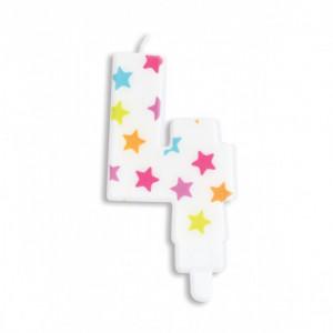 Bougie Chiffre 4 Blanche à Etoiles Multicolores Scrapcooking