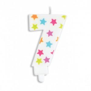 Bougie Chiffre 7 Blanche à Etoiles Multicolores Scrapcooking