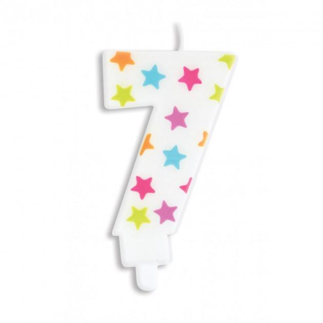 Bougie Chiffre 7 Blanche a Etoiles Multicolores Scrapcooking
