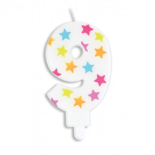 Bougie Chiffre 9 Blanche a Etoiles Multicolores Scrapcooking