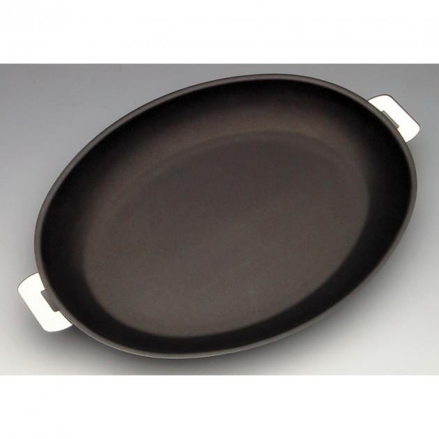 Poele Mutine Ovale Ø 35 cm Manche Amovible Anti-Adhesive Inox Cristel