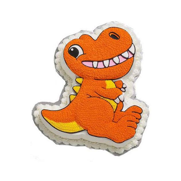 Dinosaure 3D realise avec le moule a gateau Wilton