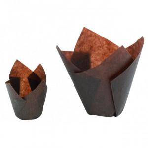 Caissettes en Papier Tulipcup Brun Ø 5 cm H 8 cm