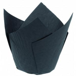 Caissettes en Papier Tulipcup Noir Ø 5 cm H 8 cm