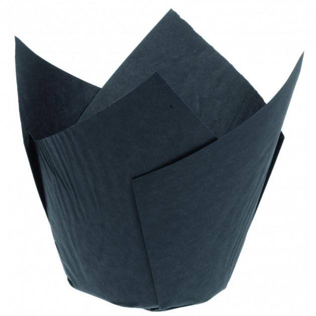 Caissettes en Papier Tulipcup Noir