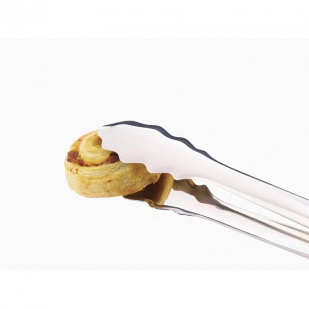 Pince de cuisine en inox fini brillant pour servir