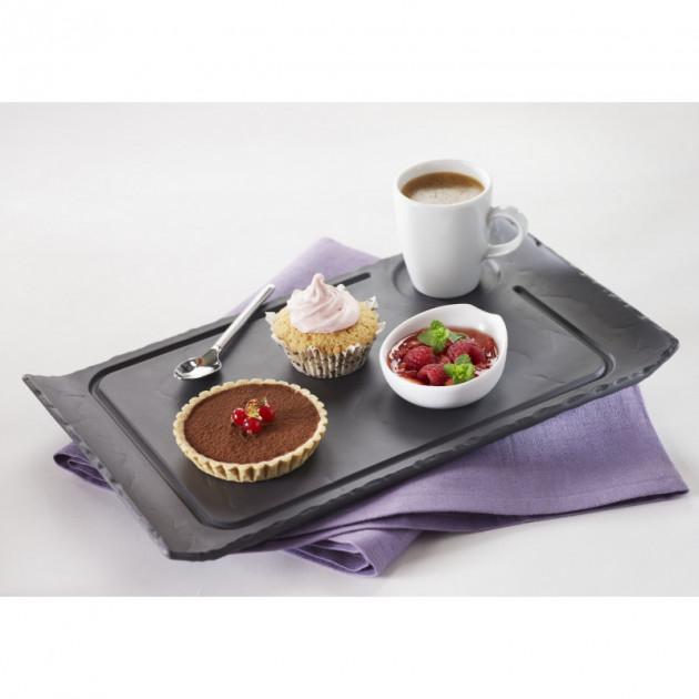 Cafe gourmand sur une assiette Basalt en porcelaine Revol