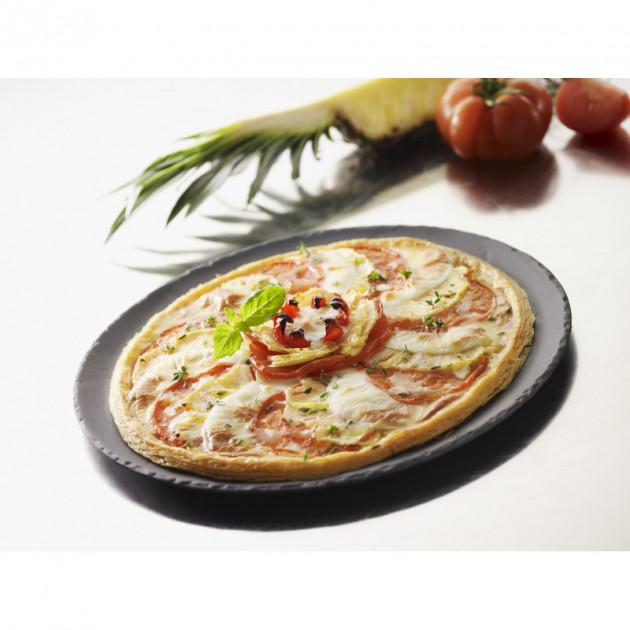Pizza presentee sur un plateau rond Basalt Revol