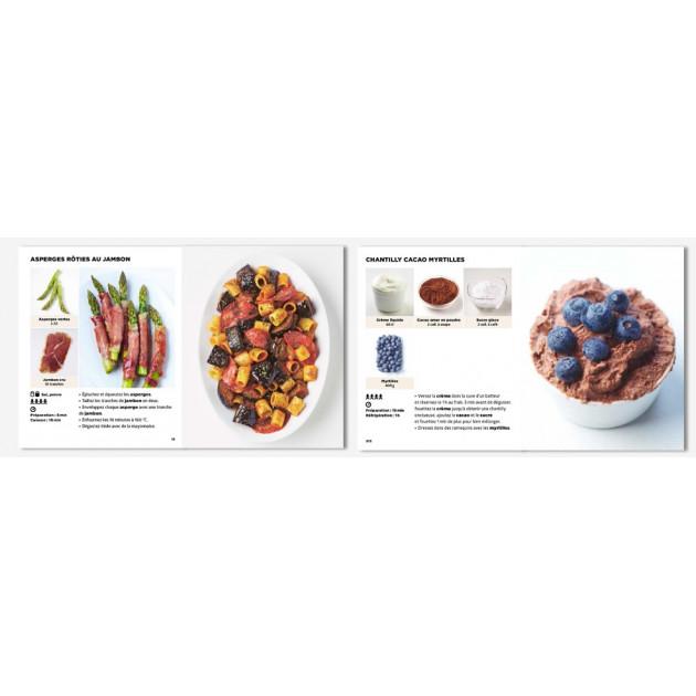 Asperges Roties au jambon et Chantilly Cacao Myrtilles issu du Livre de Recettes Le Livre de Cuisine le + facile du Monde de la