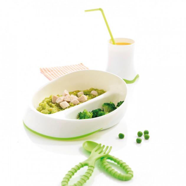 Coffret service : 1 assiette de 2 compartiments + 1 gobelet + 1 cuillere et 1 fourchette Mastrad