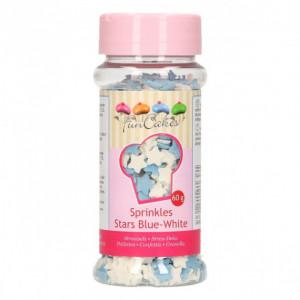 Mini Etoiles Bleues et Blanches en sucre 60 g Funcakes