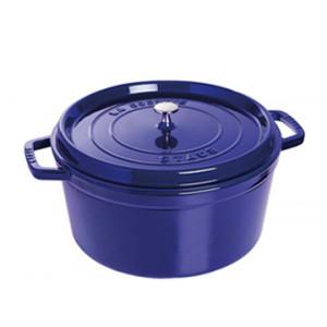 FIN DE SERIE STAUB Cocotte Fonte Ronde 22 cm Bleu Intense Majolique 2,6 L