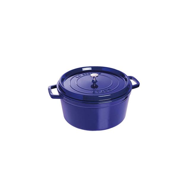 FIN DE SERIE STAUB Cocotte Fonte Ronde 22 cm Bleu Intense Majolique 2.6 L