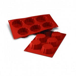 Moule Silicone 6 Brioches Cannelées 7,9 cm x H 3 cm Silikomart