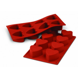 Moule Silicone 8 Coeurs 6 cm x H 3,5 cm Silikomart