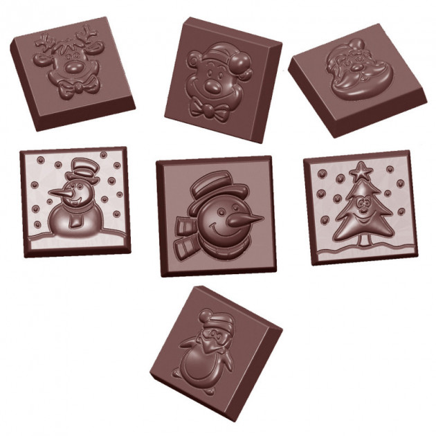 Moule Chocolat Carre Figurines de Noel (x21) Chocolate World