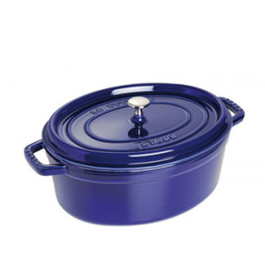 STAUB Cocotte Fonte Ovale 31 cm Bleu Intense Majolique 5,5 L