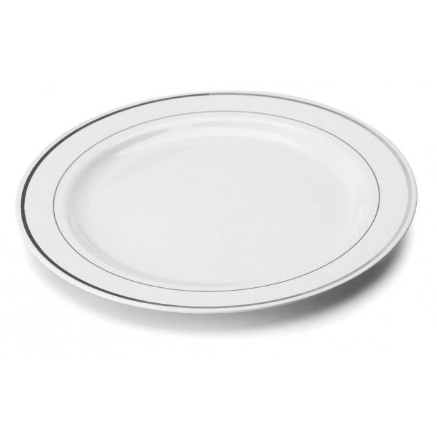 Assiette Plastique Blanche filet Argent Ø19cm (X20) Crokus