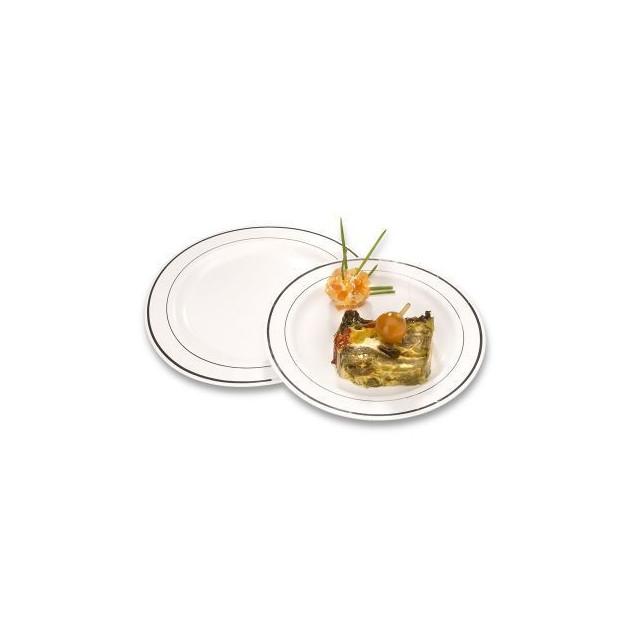 Presentation d'un plat dans des Assiettes Jetables Plastique filet Argent Crokus