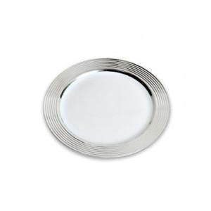 Assiette Plastique Blanche bord Argent Ø19cm (X20) Crokus
