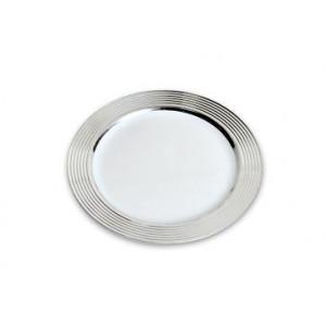 FIN DE SERIE Assiette Plastique Blanche bord Argent Ø23cm (X20) Crokus