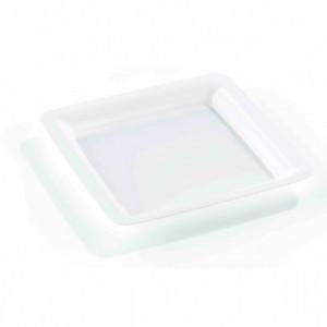 Assiette Plastique Carrée Blanche 18 x 18 cm (X20) Crokus