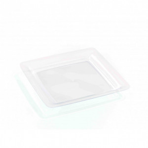Assiette Plastique Carrée Transparente 18 x 18 cm (X20) Crokus