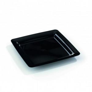 Assiette Plastique Carrée Noire 23 x 23 cm (X20) Crokus