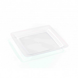 Assiette Plastique Carrée Transparente 23 x 23 cm (X20) Crokus