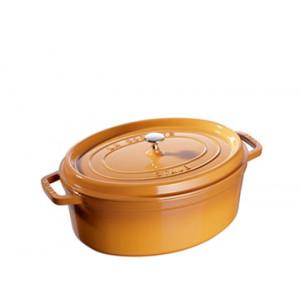 FIN DE SERIE STAUB Cocotte Fonte Ovale 27 cm Jaune Moutarde 3,2 L