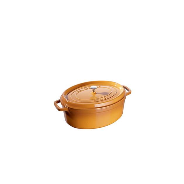 FIN DE SERIE STAUB Cocotte Fonte Ovale 27 cm Jaune Moutarde 3.2 L