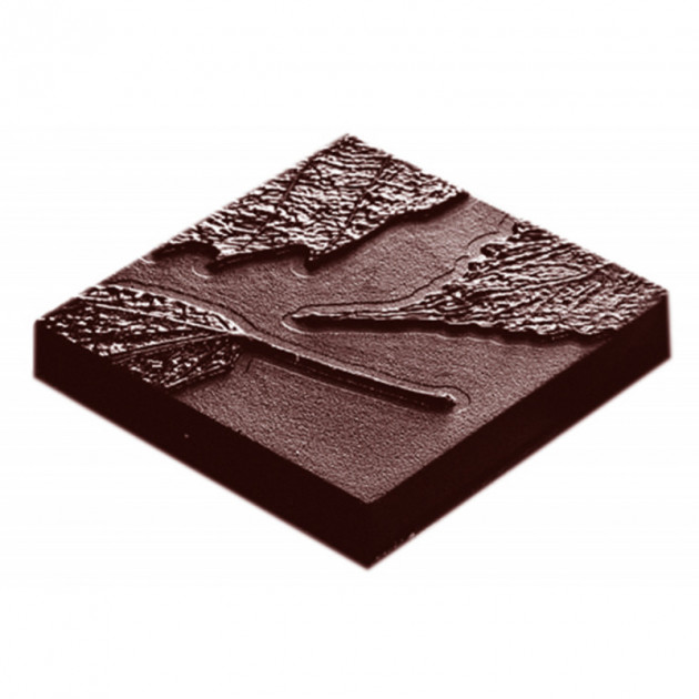 Moule Chocolat Carre avec Feuille (x10) Chocolate World