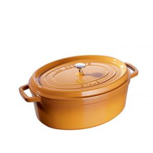 FIN DE SERIE STAUB Cocotte Fonte Ovale 29 cm Jaune Moutarde 4,2 L
