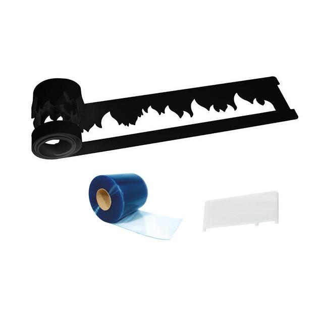 Kit Decor Silicone Flamme Silikomart Professionnal compose d'une bande silicone flamme. d'un rouleau PVC et d'une spatule