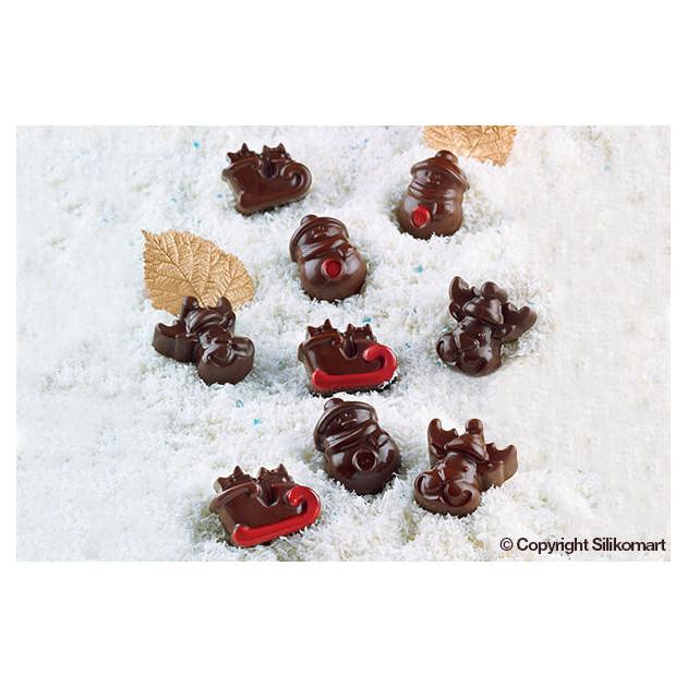 Chocolats de Noel realises avec le moule en silicone pour chocolat Easy Choc