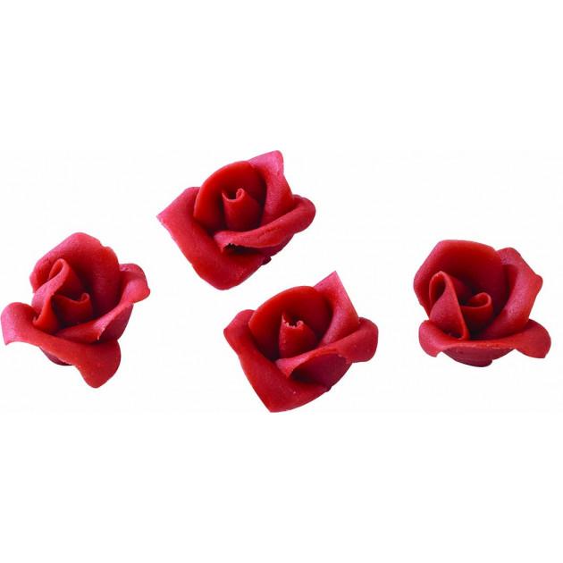 Fleurs en pate d'amande roses rouges (x35) Mallard Ferriere