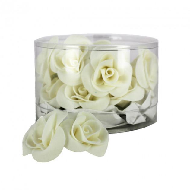 Fleur en sucre Roses Blanches 3.5 cm (x15) Mallard Ferriere