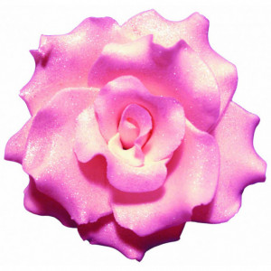 Fleur en sucre Rose frisées couleur rose Ø 7 cm Mallard Ferrière
