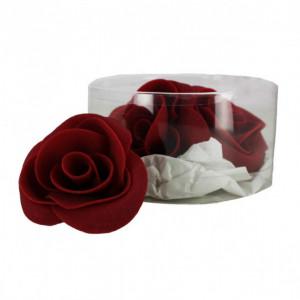 Fleur en sucre Roses bordeaux Ø 6 cm (x3) Mallard Ferrière