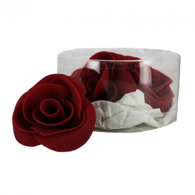 Fleur en sucre Roses bordeaux Ø 6 cm (x3) Mallard Ferriere