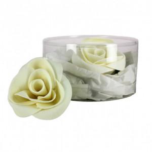 Fleur en sucre Roses blanches Ø 6 cm (x3) Mallard Ferrière