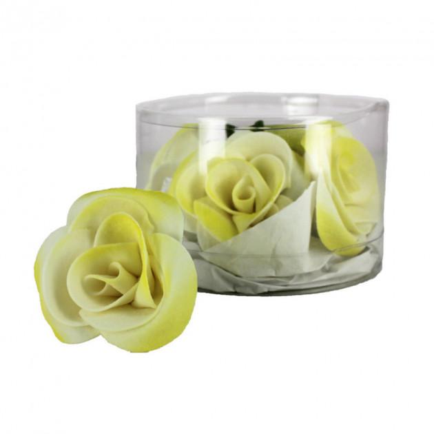 Fleur en sucre Roses - nuancees Jaune Ø5 cm (x5) Mallard Ferriere