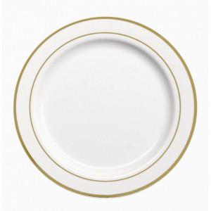 Assiette Plastique Blanche filet Or Ø15cm (X20) Crokus
