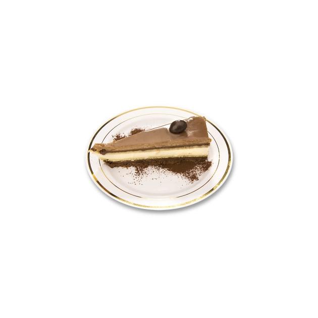 Assiette a dessert plastique blanche filet or pour servir le dessert