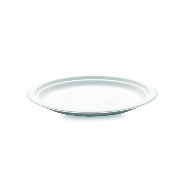 Assiette biodegradable ronde en Canne a sucre Ø23 cm (x50) Crokus