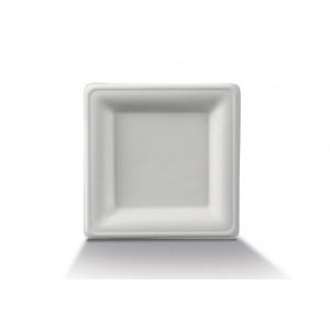 Assiette biodégradable carrée en Canne à sucre 16 x 16 cm (x50) Crokus
