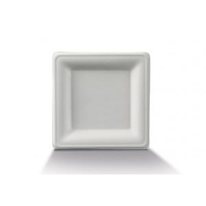 Assiette biodégradable carrée en Canne à sucre 20 x 20 cm (x50) Crokus