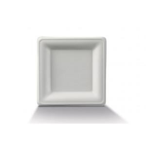 Assiette biodégradable carrée en Canne à sucre 26 x 26 cm (x50) Crokus
