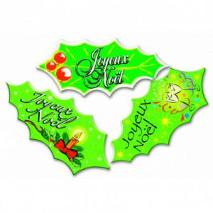 Décor Azyme feuilles de houx Joyeux Noël (x24) Mallard Ferrière