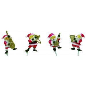 Décor Pères Noël musiciens 4 modèles assortis x48